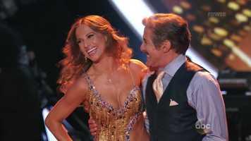 Journalist Geraldo Rivera is dancing with Edyta Sliwinska.
