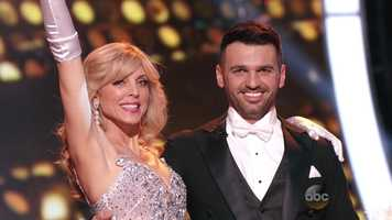 Actress and television personality Marla Maples is dancing with Tony Dovolani.