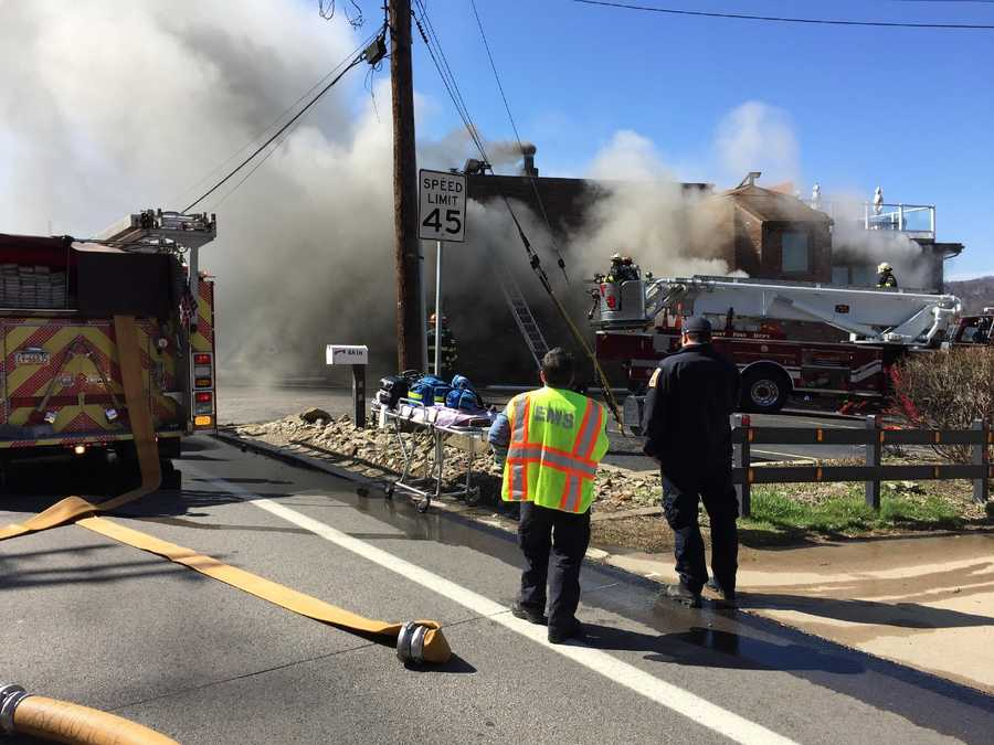 Emergency crews worked to battle a blaze in Penn Hills Saturday afternoon.