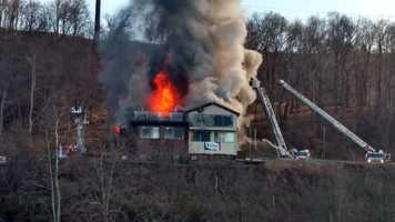 Firefighters worked to battle a blaze in Penn Hills Saturday afternoon. (Photo courtesy WTAE viewer)