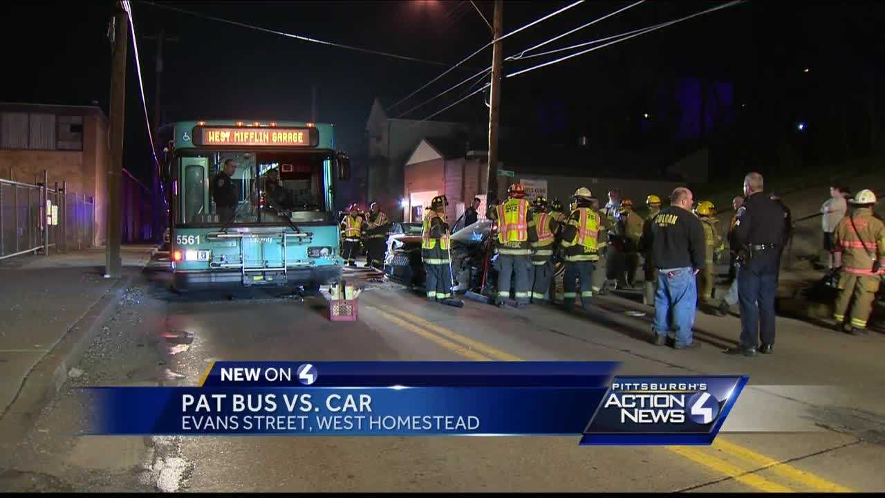 At least one person was injured when a Port Authority bus and a car collided in West Homestead.