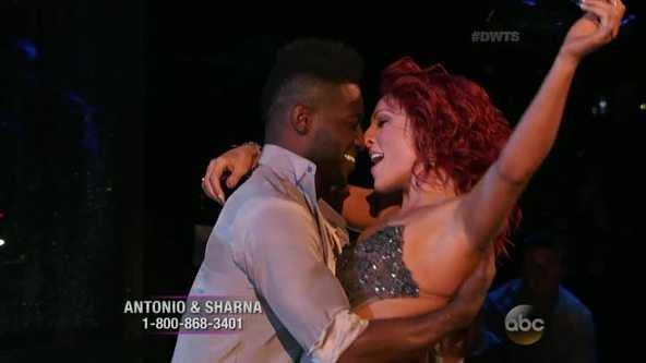 "Steeler Antonio Brown and his professional partner, Sharna Burgess, bring their version of the rumba for Latin Night on ""Dancing With the Stars."""