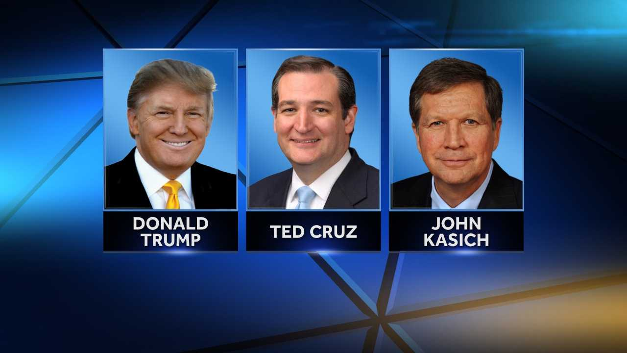 Republican presidential candidates Donald Trump, Ted Cruz and John Kasich.