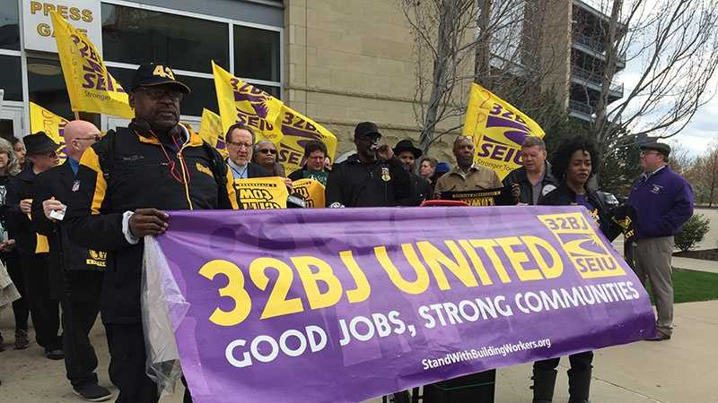 Union security guards held a rally after learning they would lose their jobs at Heinz Field.