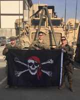 "Stephanie Tarr shared this special photo on WTAE U-Local for Pittsburgh Pirates Opening Day: ""These men are currently in Kabul, Afghanistan and are extremely excited about opening day! They are 8.5 hours ahead of Pittsburgh so they won't see much, but doing something small like this would boost their spirits."""