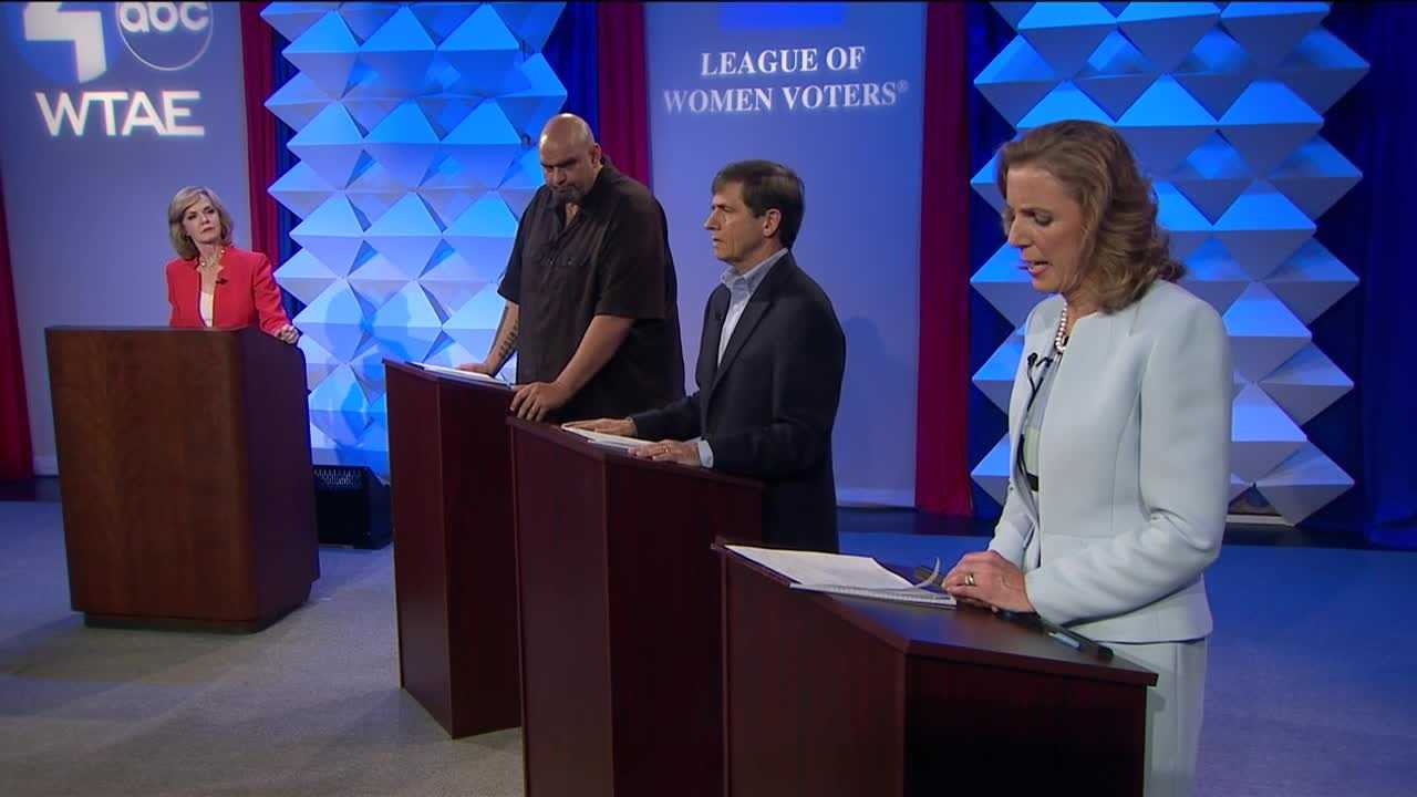 Democratic U.S. senate hopefuls John Fetterman, Katie McGinty and Joe Sestak met Tuesday night for a debate at WTAE studios moderated by Sally Wiggin.