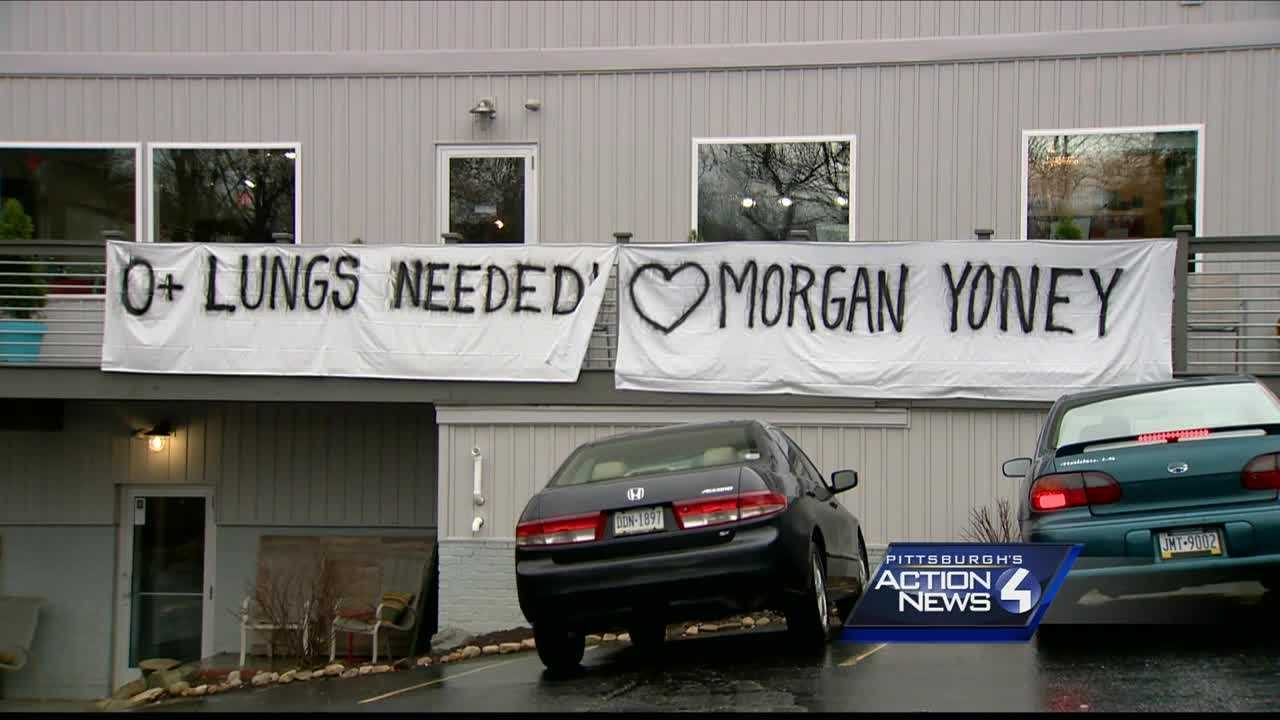 The Ross Township community has posted signs and held benefits to raise awareness for Morgan Yoney, a 21-year-old in need of a double lung transplant.