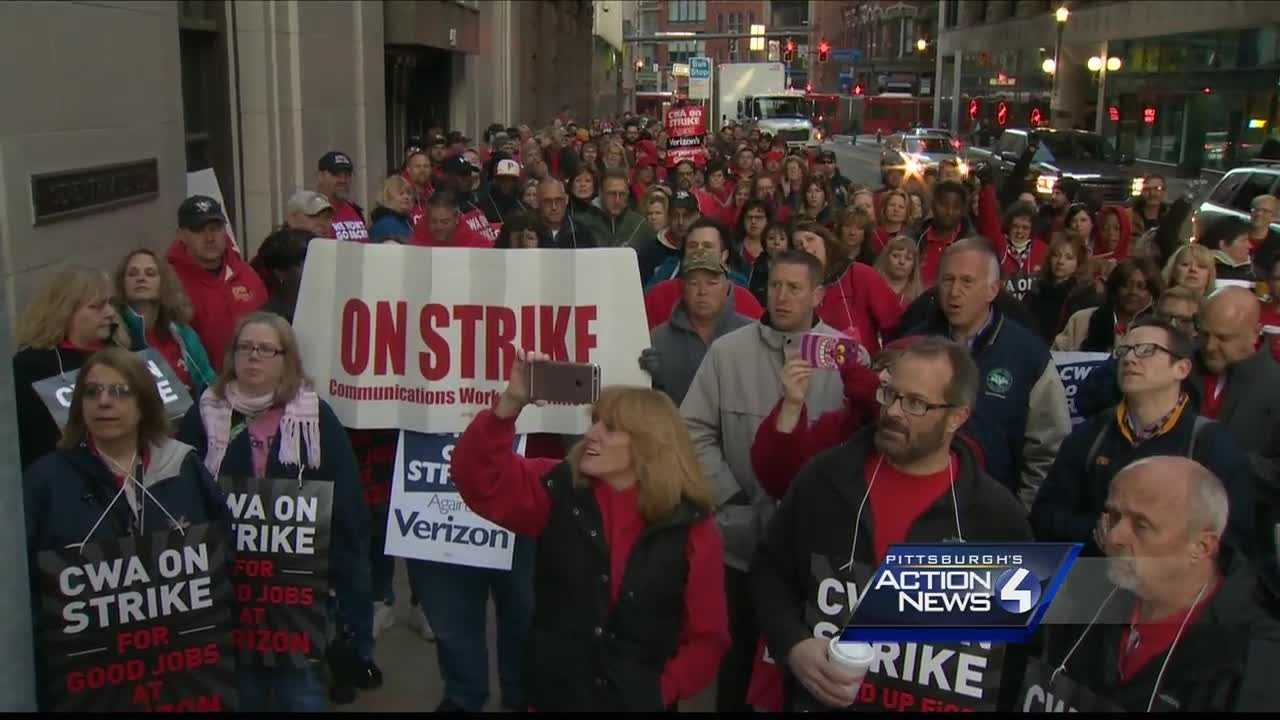 Nearly 40,000 Verizon workers from Massachusetts to Virginia went on strike Wednesday morning, hundreds of them in downtown Pittsburgh.