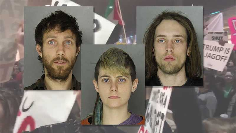 Kennon Hooper (left), Lisa Cuyler (middle) and Maxwell Yarick (right) were arrested outside a Donald Trump rally at the David L. Lawrence Convention Center in Pittsburgh.