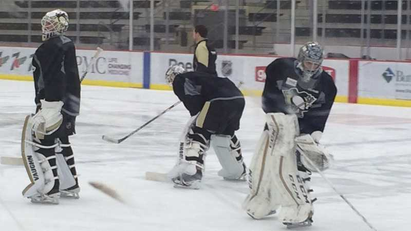 Pittsburgh Penguins goaltenders Matt Murray, Jeff Zatkoff and Marc-Andre Fleury.