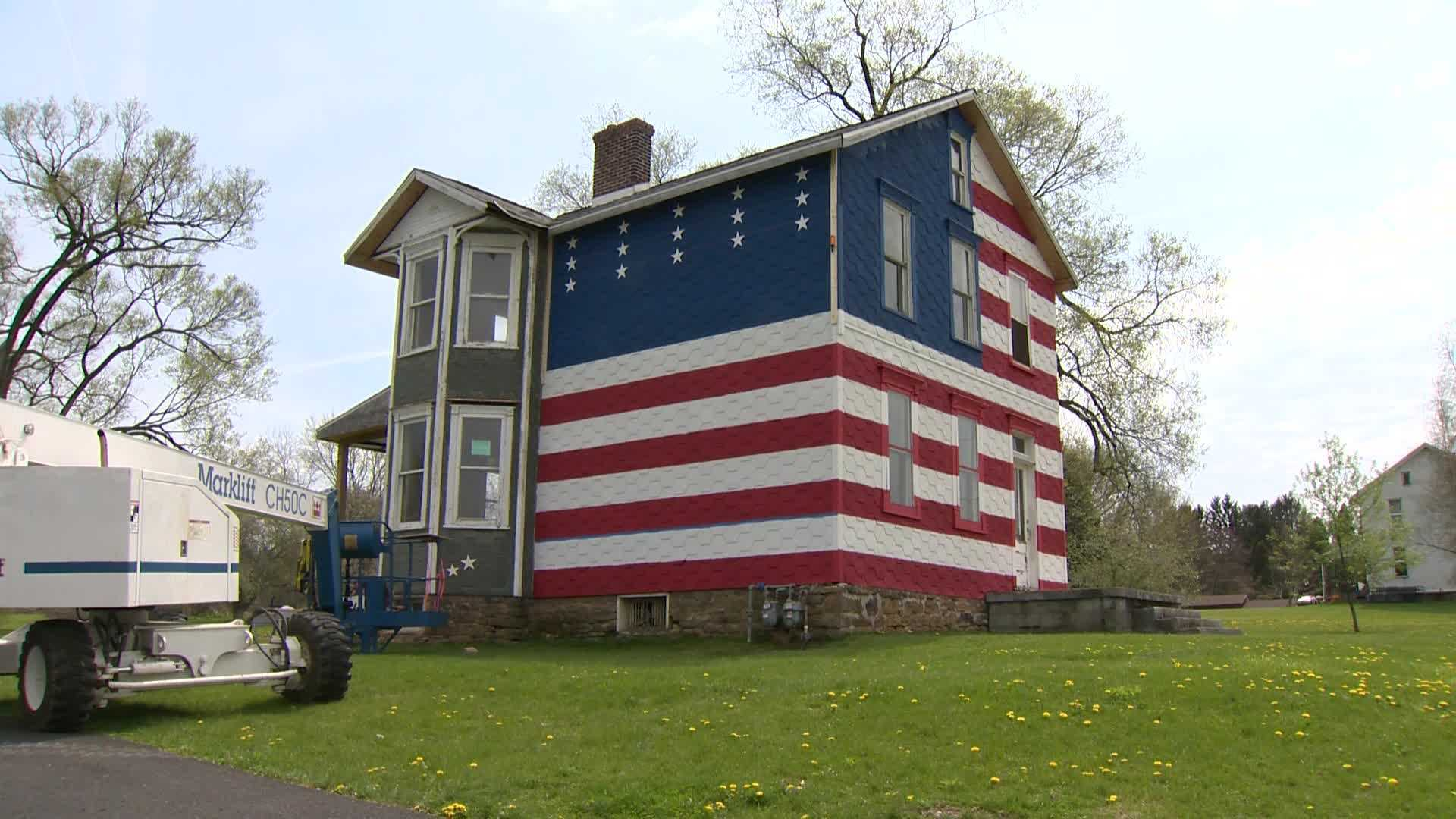 trump supporter paints house red white u0026 blue