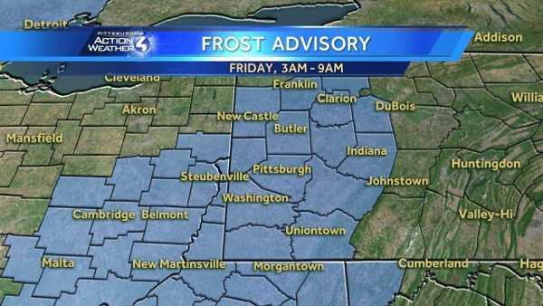 Areas covered by a frost advisory are highlighted in blue.