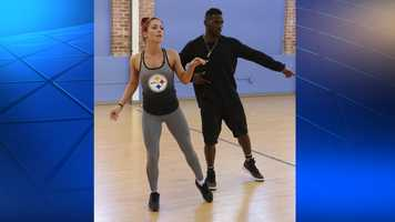 Antonio Brown and Sharna Burgess in dance practice.