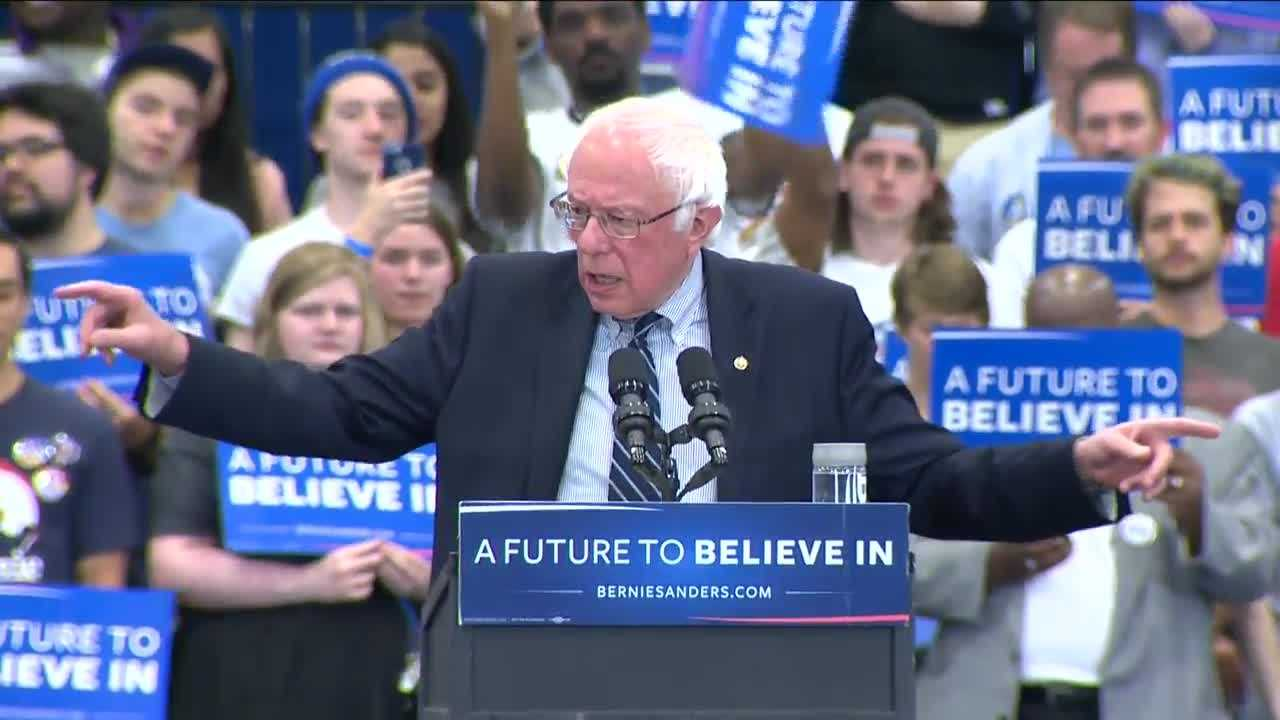 Bernie Sanders speaks at the University of Pittsburgh