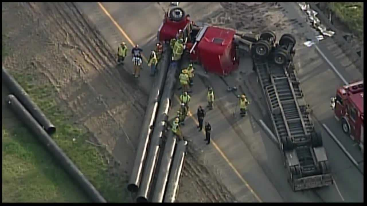 Sky 4 flies over the accident scene on Interstate 79, near the Mount Nebo exit.