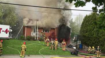 Crews worked to battle a house fire in Plum Wednesday morning.