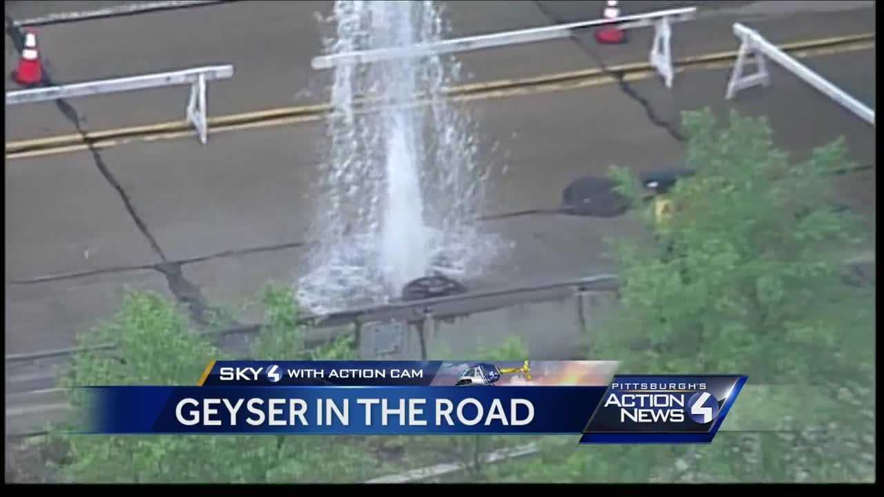Overflow system backs up, causing geyser along 10th Street Bypass