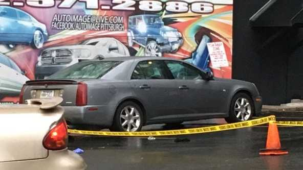 The two men driving this car were shot at by a passing vehicle on Banksville Road Friday night.