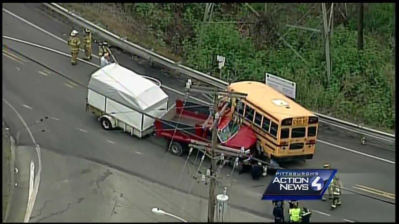 Sky 4 on Monday afternoon was over Trafford, PA where a school bus had an accident with students on-board.