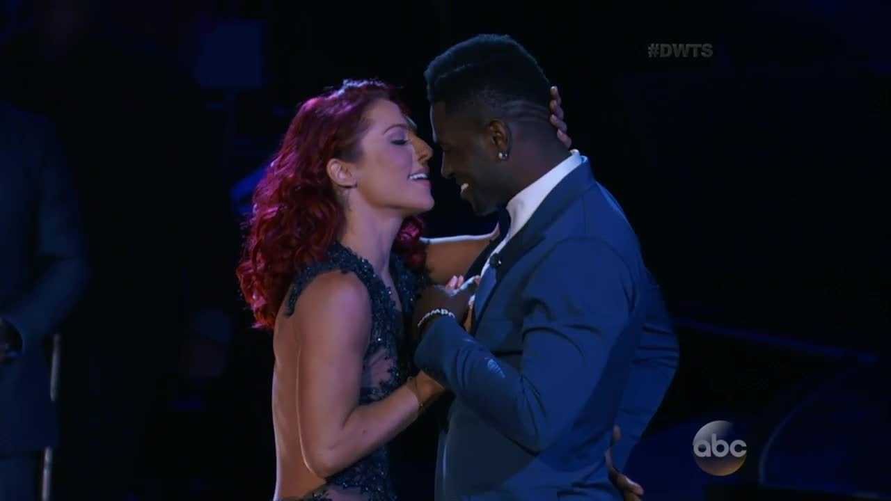 Sharna Burgess and Antonio Brown danced the Viennese Waltz garnering strong scores from Carrie Ann, Len and Bruno.