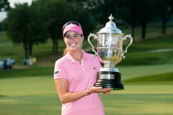 Paula Creamer celebrates with the trophy during the final round at the 2010 U.S. Women's Open Championship at Oakmont Country Club in Oakmont, Pa. on Sunday, July 11, 2010