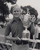 Photo shows John Miller (Johnny Miller) holding the trophy after winning the 1973 U.S. Open Championship which was held at Oakmont Country Club, Oakmont, Pa