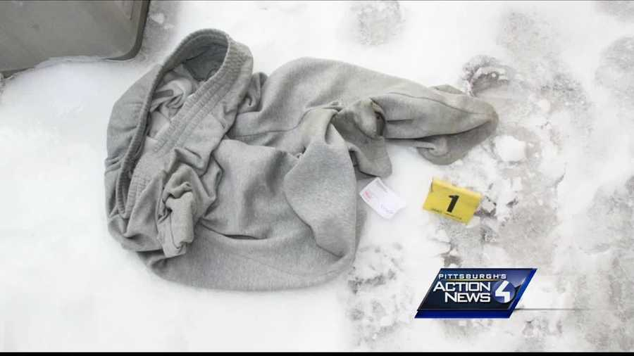 Sweatpants that Allen Wade allegedly discarded while walking in East Liberty were introduced as evidence.