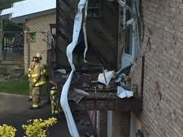 A car crashed into a duplex and hit a woman's bedroom in Center Township, Butler County.