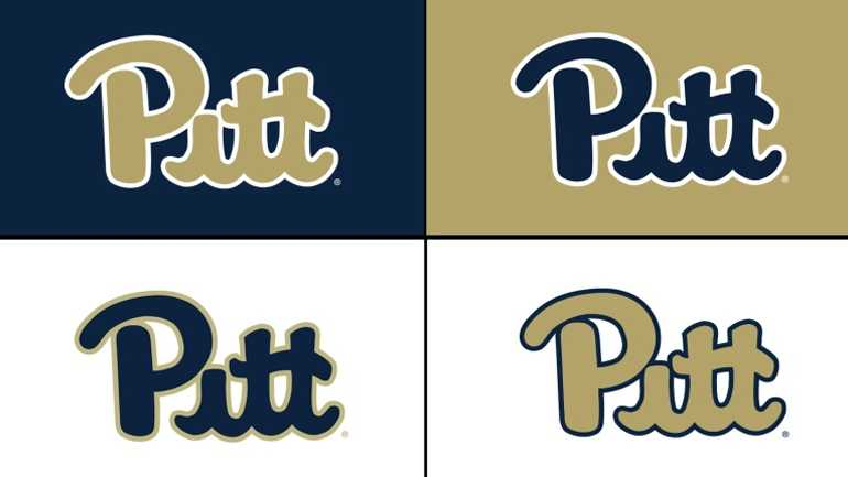 These are the various color schemes that Pitt will use for its returning script logo.