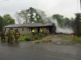 Crews worked to battle a house fire in Washington Township, Westmoreland County Wednesday morning.