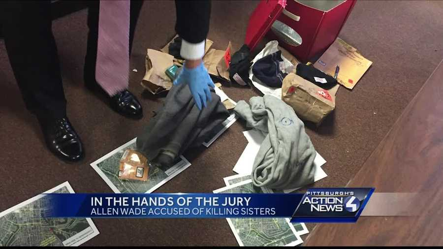 The district attorney laid several pieces of evidence on the courtroom floor, creating a trail that led to where Allen Wade was sitting.