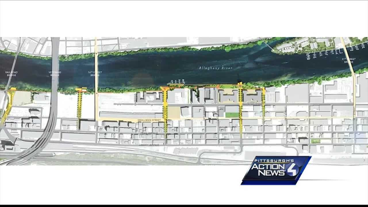 The announcement for a new riverfront park made by the Riverlife group plans to make improvements along Smallman Street.