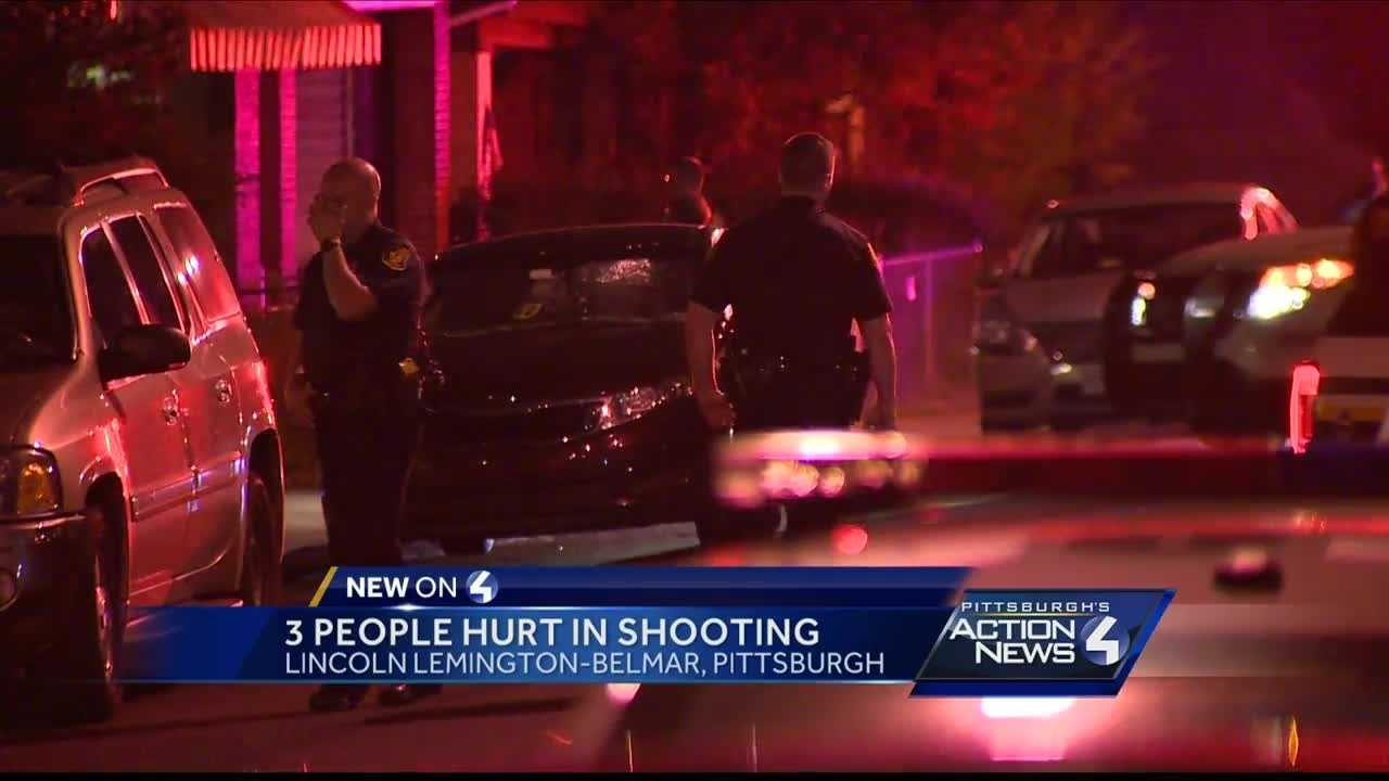 Three people were injured after a shooting in Pittsburgh's Lincoln-Lemington-Belmar neighborhood Friday night.