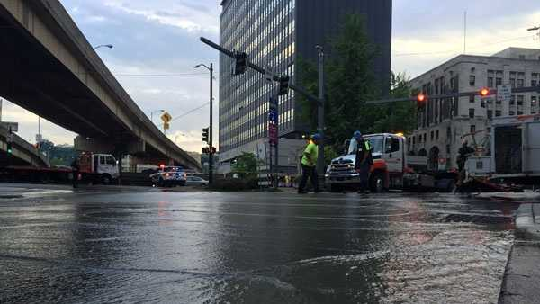 Crews on scene at a large downtown water main break Wednesday night.