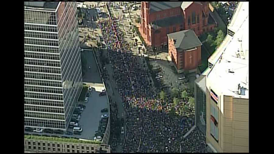 Fans filled Washington Place outside Consol Energy Center before Game 5 of the Stanley Cup Final.