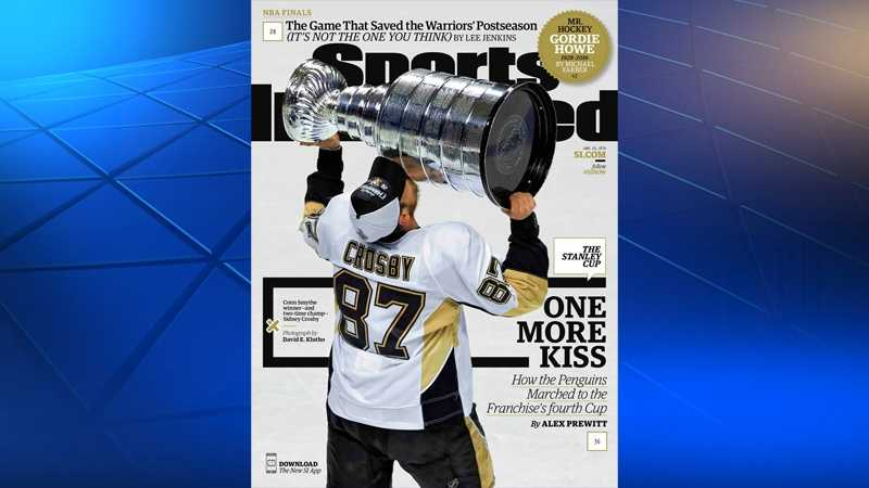 Pittsburgh Penguins captain Sidney Crosby is seen hoisting the Stanley Cup on the cover of Sports Illustrated.