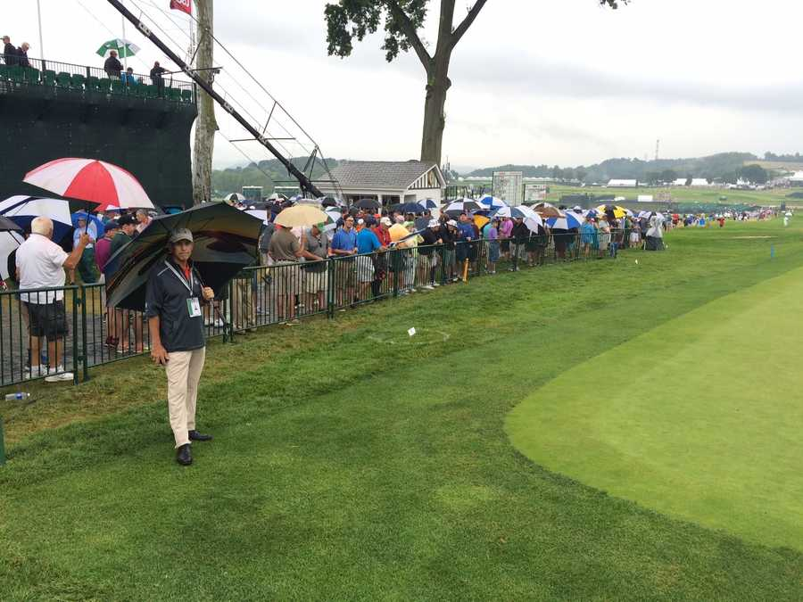 Play at the U.S. Open was delayed by rain.