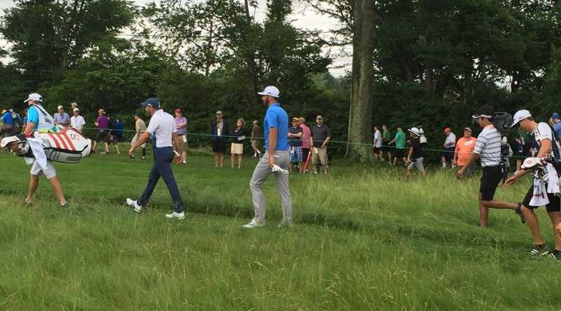 Dustin Johnson, after teeing off at the second hole.