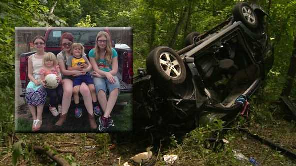 Amanda Hixenbaugh says three of her five children and her mother were wearing seat belts when the car they were driving plunged 150 feet over a hillside.