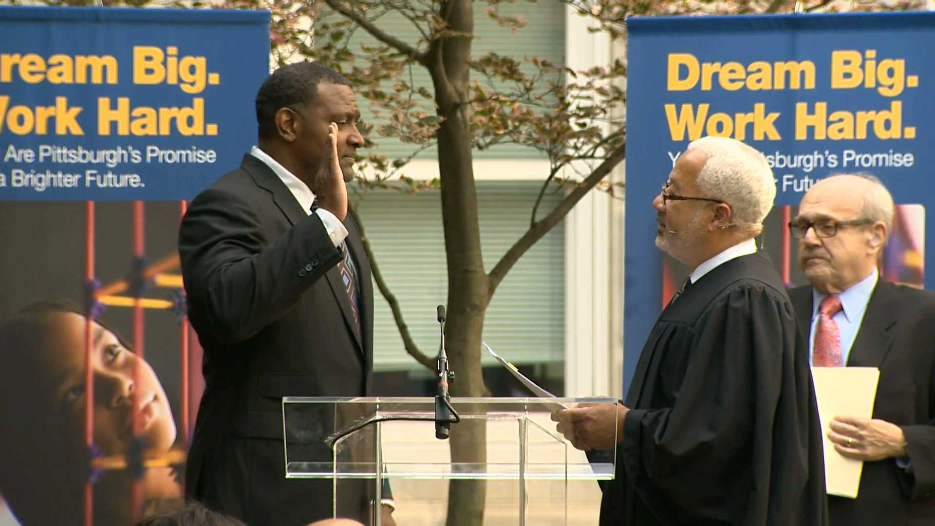 Anthony Hamlet is sworn in as superintendent of Pittsburgh Public Schools.