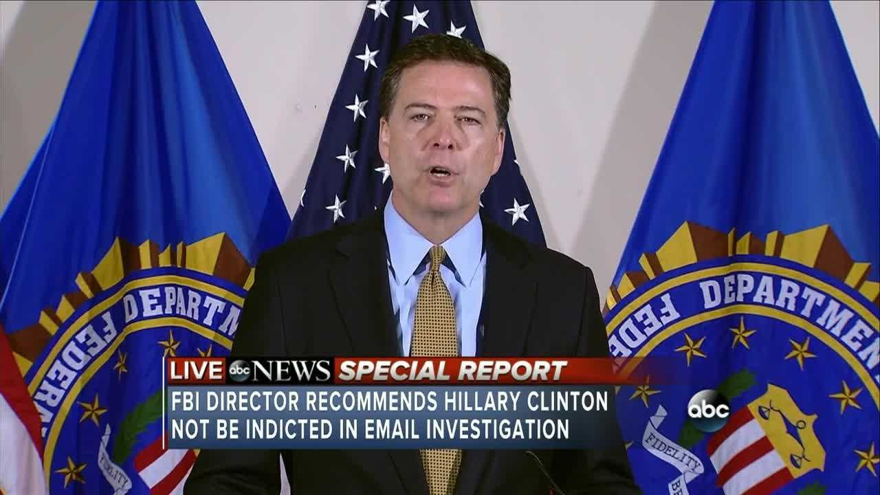 Watch the whole news conference where FBI Director recommends Hillary Clinton not be indicted in email investigation.