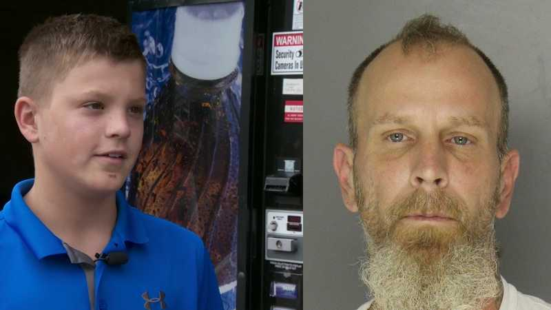 Police say Shawn Roche (right) is a suspect in the theft of money from a vending machine operated by 12-year-old John Filo (left).