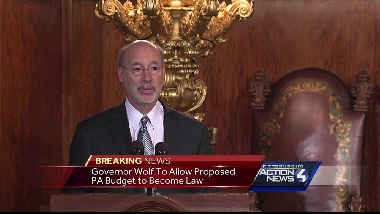 Gov. Tom Wolf spoke Sunday night from Harisburg, saying he will allow the proposed state budget to become law.
