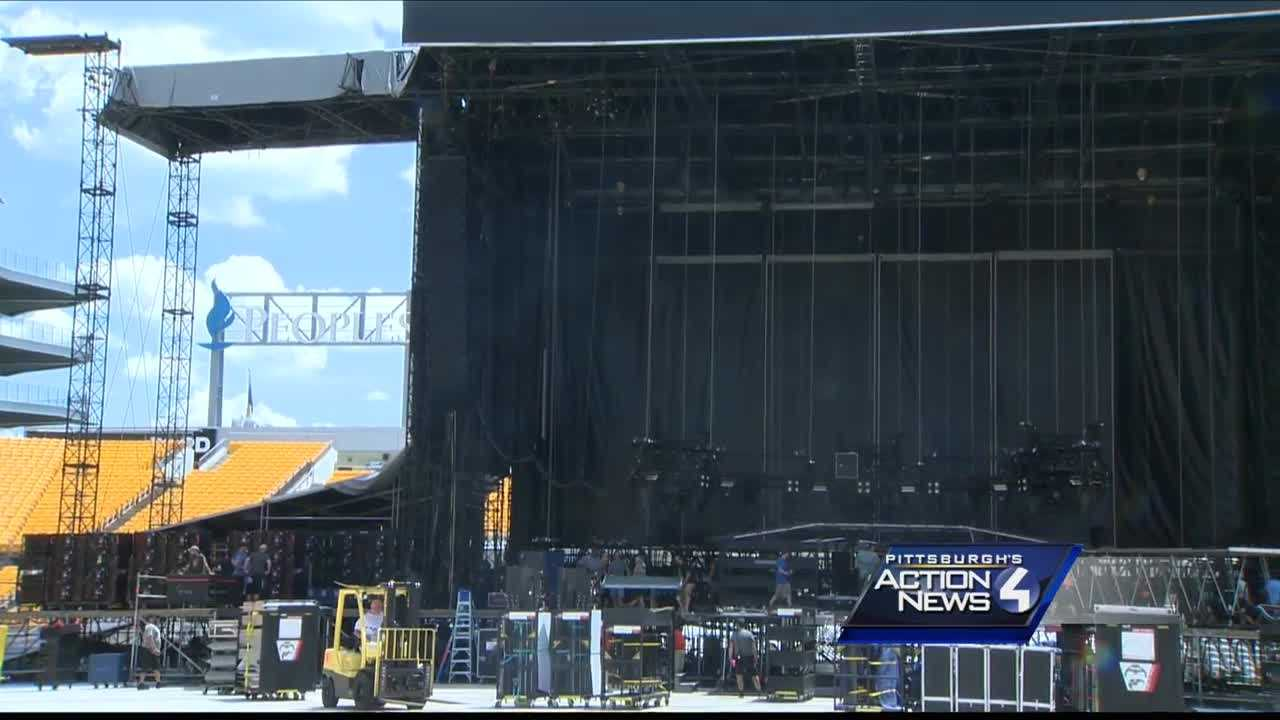 The stage for a Guns N' Roses concert at Heinz Field