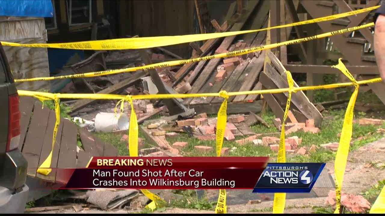 A man was found shot Saturday after crashing his car into a home in Wilkinsburg.