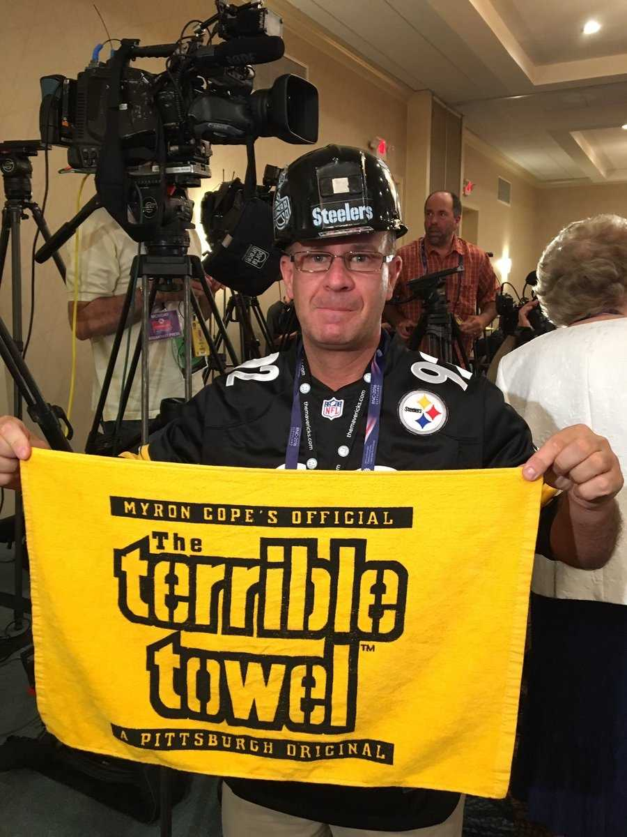 #SteelersNation at @GOPconvention North Hills alternate delegate Mike McMullen shows his Black & Gold pride