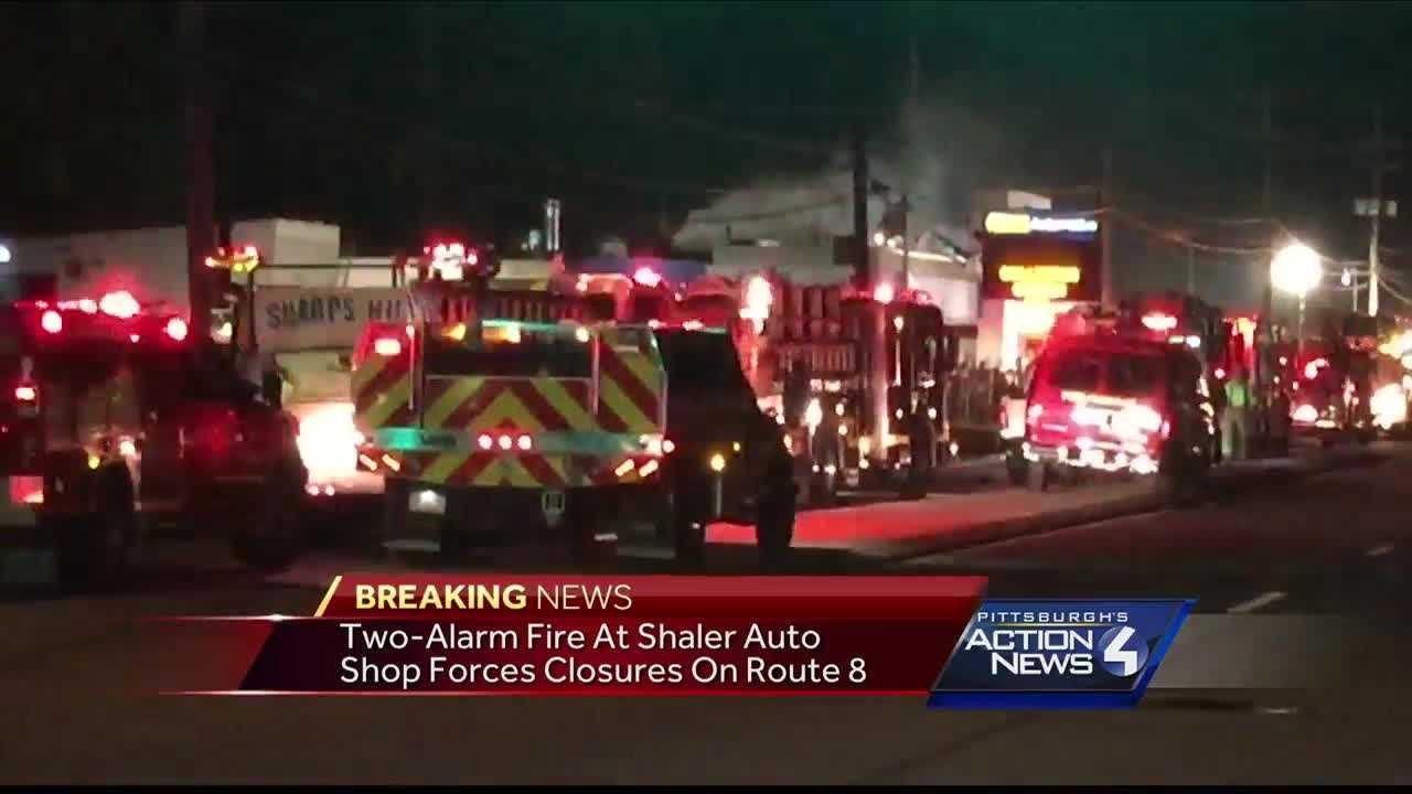 A two-alarm fire at an auto shop in Shaler has closed part of William Flynn Highway (Route 8) Friday night.