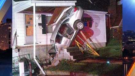 Three people are taken to a hospital after a crash in West Mifflin that damaged a home Sunday morning.