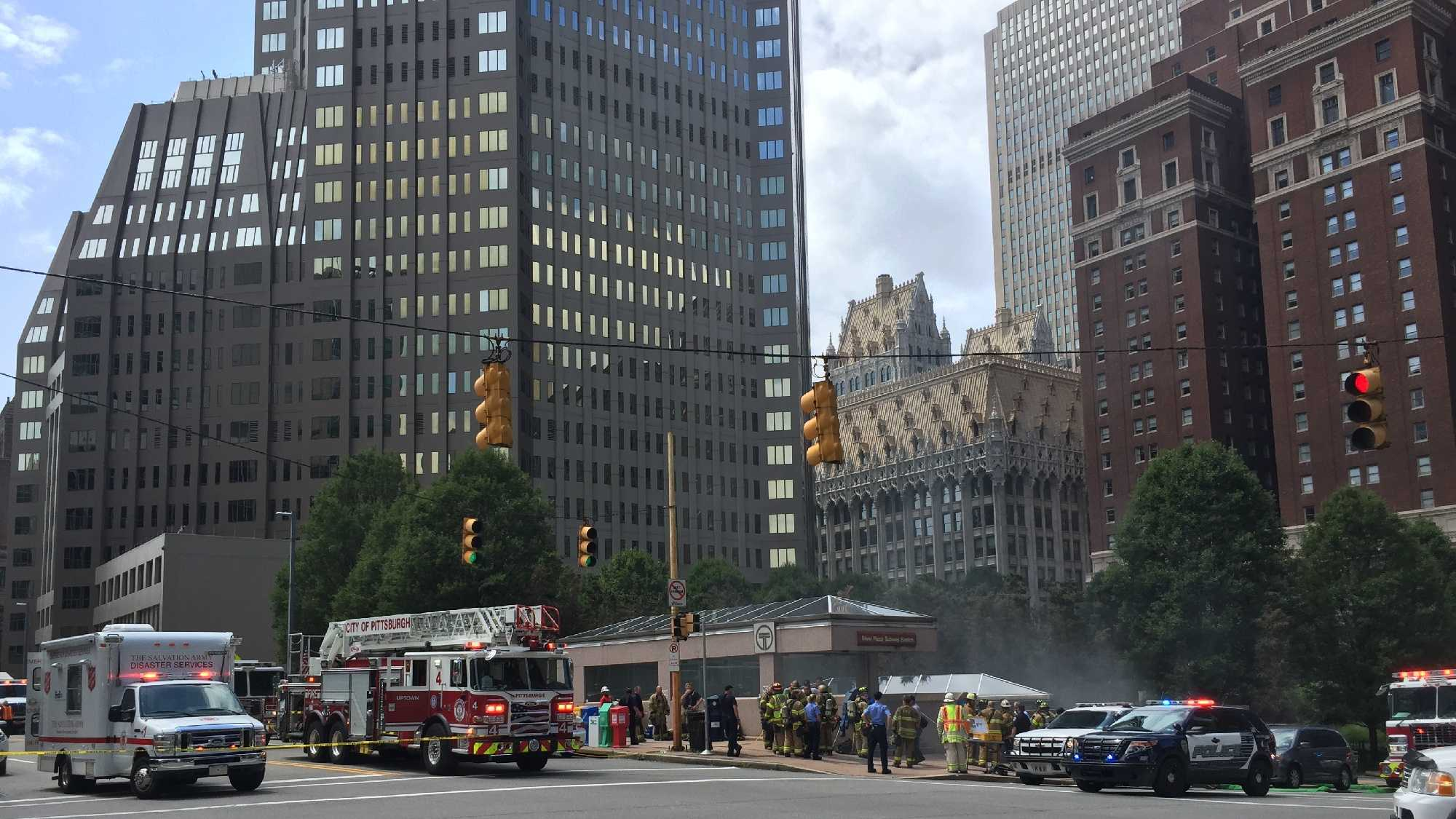 Emergency crews were called to the Steel Plaza T station on Grant Street for the reports of smoke seen coming from the tunnel.  (Dave Carulli)