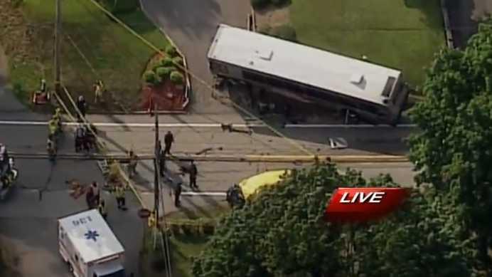 Bus, car crash